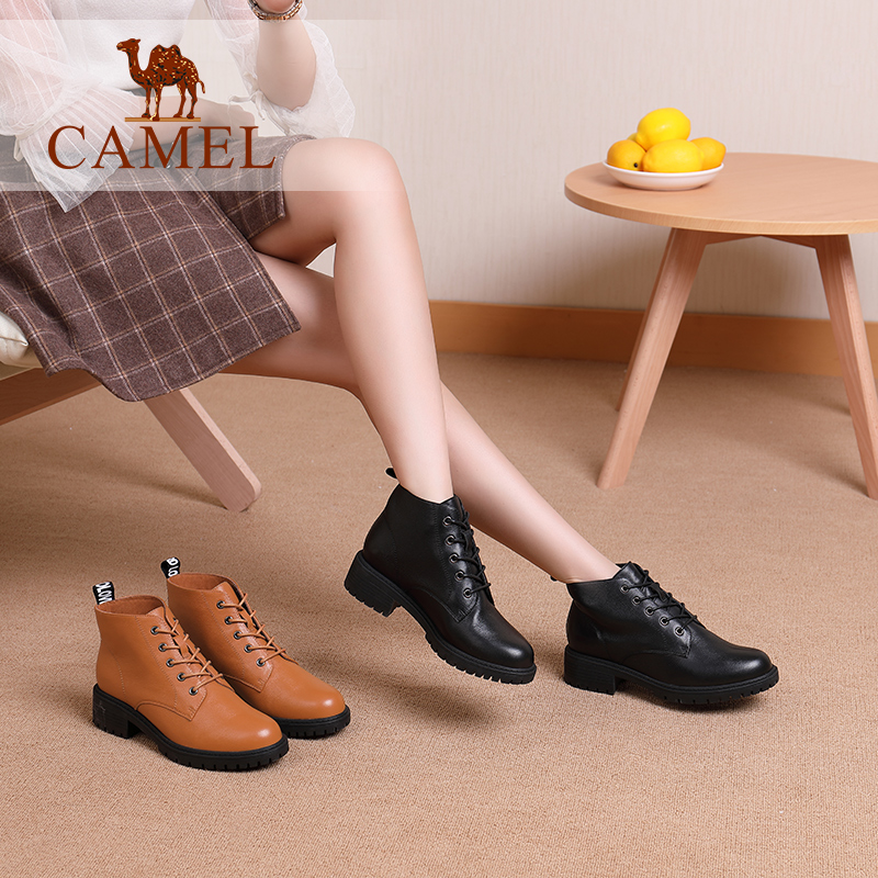 Camel women's shoes 2018 winter new fashion England Martin boots leather casual boots thick with lace women's booties