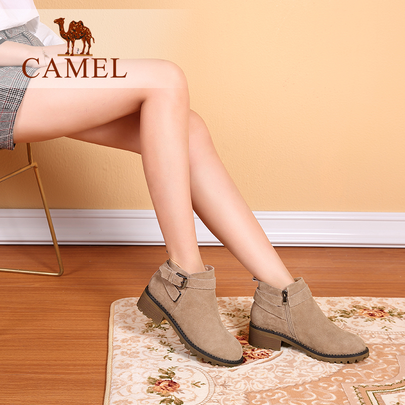 Camel Shoes Autumn and Winter Fashion British Wind Short Cylinder Shoes Square-heeled Grinded Cowskin Shoes