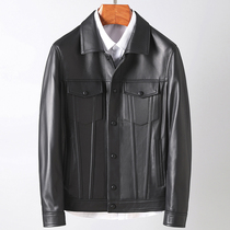 European goods imported sheep leather mens leather short paragraph slim leather jacket lapel leather leather mens jacket
