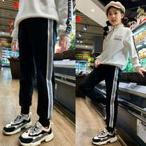 Girls trousers autumn and winter wear sports pants 2019 New childrens foreign air cashmere leisure Big children Wei pants spring and autumn