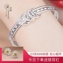 Sansen III серебряные браслеты для женщин 999 стерлингового серебра модные браслеты простые тонкие кольца браслеты украшения для студентов серебряные украшения