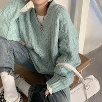 Sweater womens autumn and winter 2021 New V-neck pullover loose lazy wind wear top thickened twist knit sweater