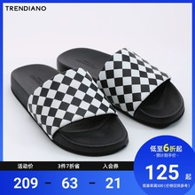 Trendiano men's summer leather casual diamond lattice color matching home shoes slippers 3ga2518200