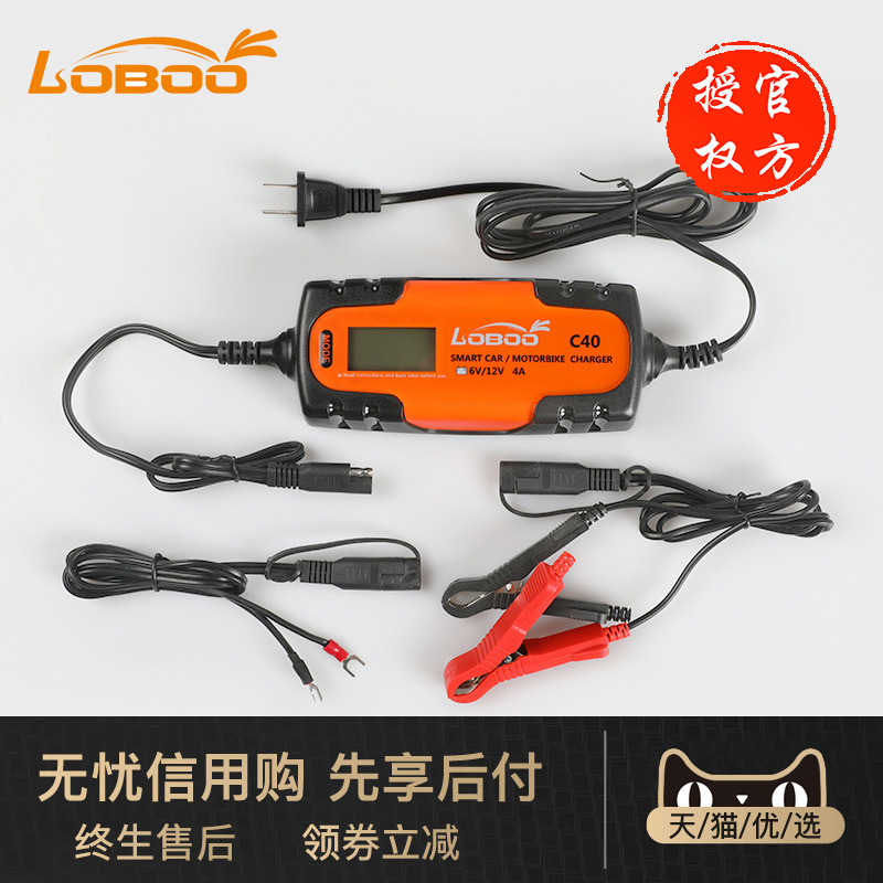 LOBOO radish motorcycle battery charger 12V universal automatic intelligent fast charge battery charger