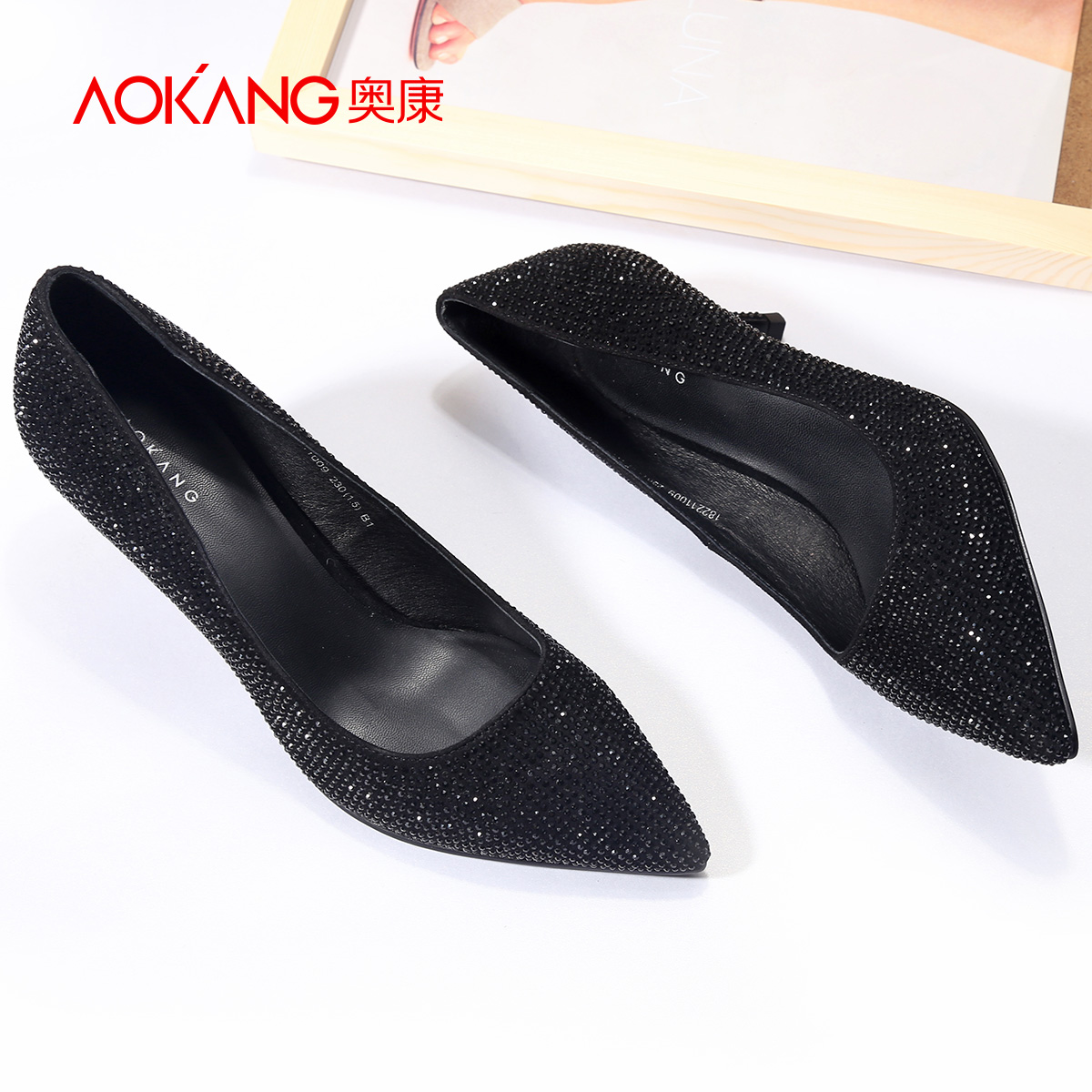 Aokang new boutique women's shoes pointed high heels rhinestones black business shoes banquet shoes fashion fine with single shoes
