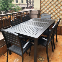Outdoor tables and chairs garden tables and chairs combination leisure cafe outdoor terrace garden preservative wood plastic wood table and chair