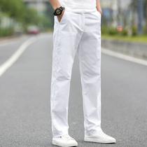 White casual pants mens summer thin Korean version of the wild trend loose straight stretch sports pants mens pants