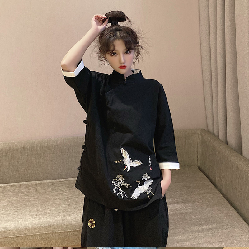 Hanfu womens modified cheongsam top Tang style Chinese style retro Chinese set embroidery tea service element ancient style womens clothing