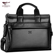 Seven Wolf Genuine Leather Men's Bag Handbag Men's Bag One Shoulder Slant Bag Business Soft Cow Leather Briefcase Computer Bag