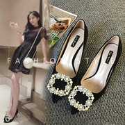 Spring is fine with the shoes in Europe and the United States pointed diamond buckle shoes documentary high-heeled shoes red wedding shoes black shoes