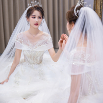 The main shoulder wedding dress 2021 new bride temperament tailing female size pregnant women senior French light door summer