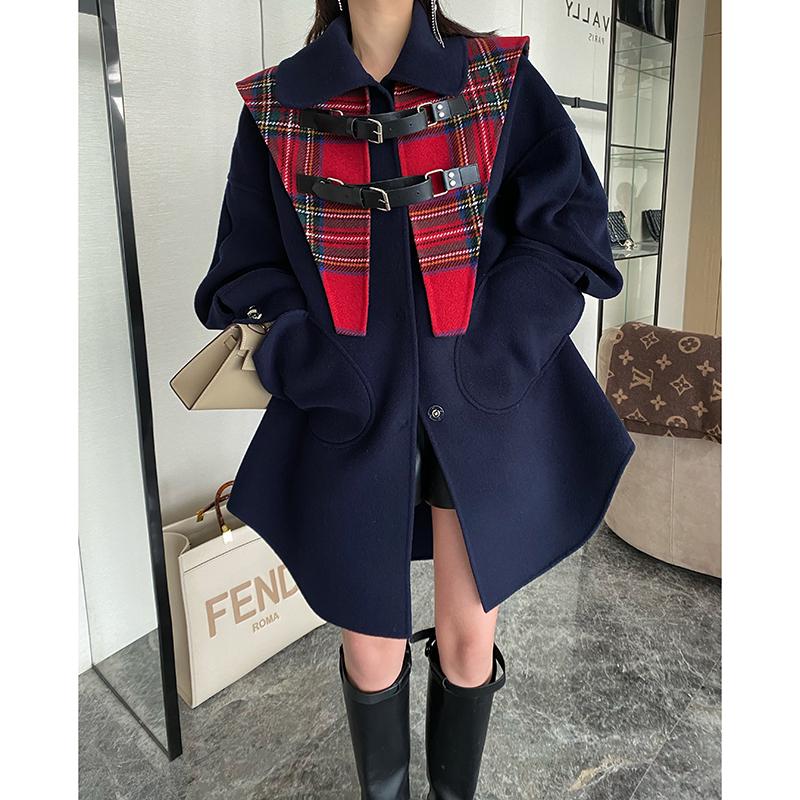 (Spot) Little Jingjia 25.8 cashmere 74.2 wool silhouder double-sided shawl cape coat