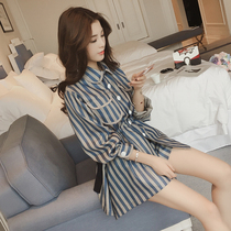SANDRO moscoloni striped casual suit womens spring and summer fashion shirt shorts two-piece set foreign style age reduction
