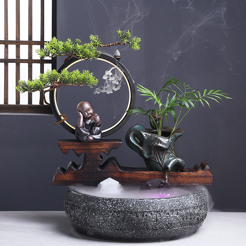 Creative living room fountain water humidifier lamp ring lucky home desktop fish tank decoration opening gift decoration
