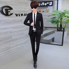 In the autumn of 2017 men's suits to pure Korean cultivating business and leisure men two piece DP