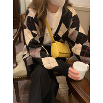 Wild brother not wild Lingge sweater cardigan spring and autumn 2021 New loose V collar long sleeve lazy sweater coat women