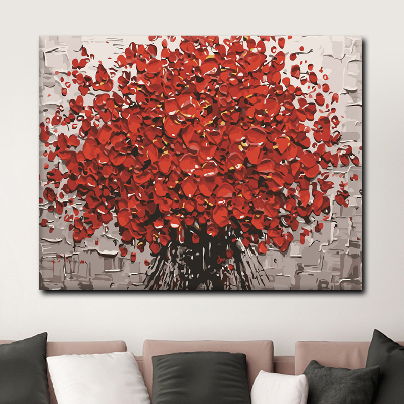 Diy Digital Oil Painting Red and Fire Digital Oil Painting Decompression Handmade Decorative Painting with Self-Painting and Filling Painting