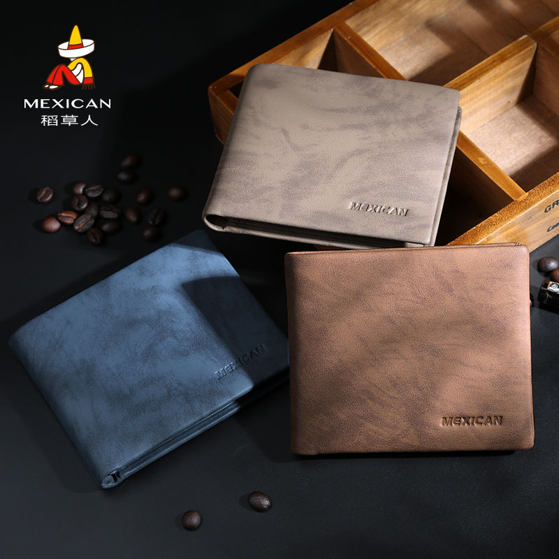 Scarecrow Wallet Men's Short True Leather 2019 New Youth Ultra-thin Soft Leather Simple Wallet Driving License Wallet