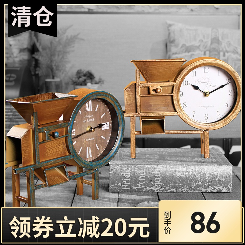 Creative seat clock, iron art RETRO pendulum, American household decoration, decoration, handicraft, blower, clocks and watches