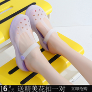 2017 new Crocs sandals with a slope discoloration jelly shoes sandals slippers summer slip pregnant female