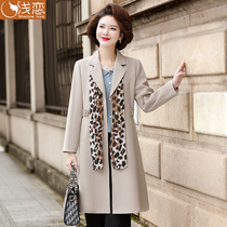 New mother Spring and Autumn fashion trench coat middle-aged womens foreign style medium-length coat middle-aged and elderly temperament thin coat