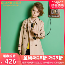elandkids clothing love childrens clothing in the autumn of 2019 New men and children in the British style double breasted medium long trench coat