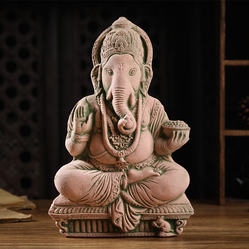 Thai sand carvings, stone carvings, decorative crafts, living room TV cabinet, elephant trunk, God of wealth and Buddha statue