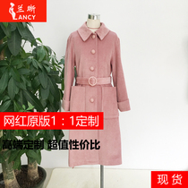 Overjoyed winter windbreaker winter women 's new long paragraph in the waist corduroy casual coat made