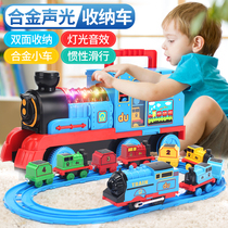 Children 61 simulation large small train track set toys electric boy car alloy 3-5 years old 6 gifts