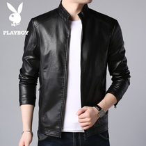 Playboy mens leather 2018 New plus velvet thick motorcycle suit Korean trend leather jacket winter