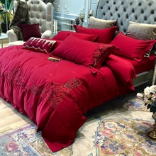 Four sets of European pure cotton big red cotton wedding room wedding quilt embroidered 1.8m bedding
