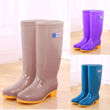 High tube rain shoes women's water shoes women's rain boots long tube fashionable waterproof shoes kitchen antiskid rubber shoes work overshoes