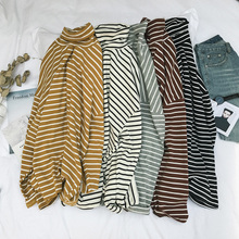 Striped long sleeved T-Shirt XL Turtleneck Shirt male fat thin fat loose shirt small fresh tide