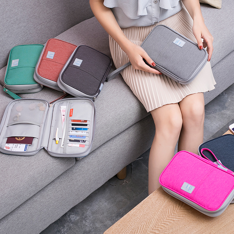 Travel abroad travel document package Travel passport package multi-function document bag female ticket passport holder storage bag