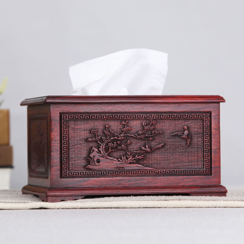 Red Wood Paper Towel Box Creative Idea of Drawing Paper Box for Home Office, Drawing Paper Box, Red Sour Branch Home Decoration, Napkin Paper Drawing Box
