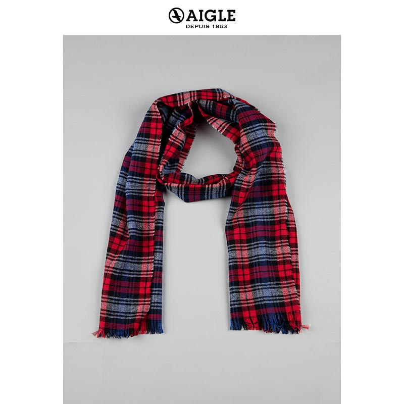 AIGLE Ms. Agaard Wool Check Long Scarf CHECKYFLY