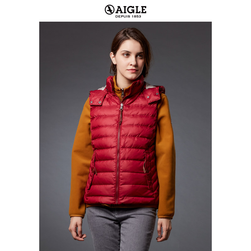 [The goods stop production and no stock]AIGLE Women's short quilted down vest LILYFOG VEST