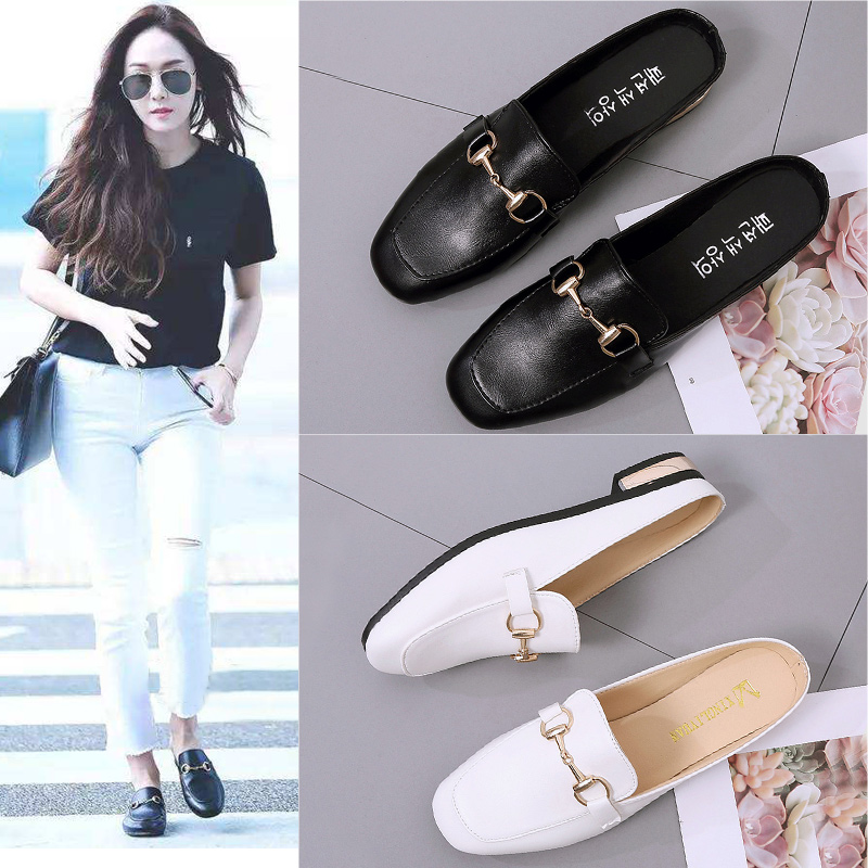 Half-Baotou Slippers Female Winter Outside Wear the New Summer Korean Edition Fashionable Indoor Flat-soled Muller Slippers in 2019