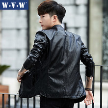 Spring and Autumn Leather Garment, Seoul Edition Youth Handsome Trend, 2019 New Autumn Locomotive Garment Men's Leather Jacket Coat