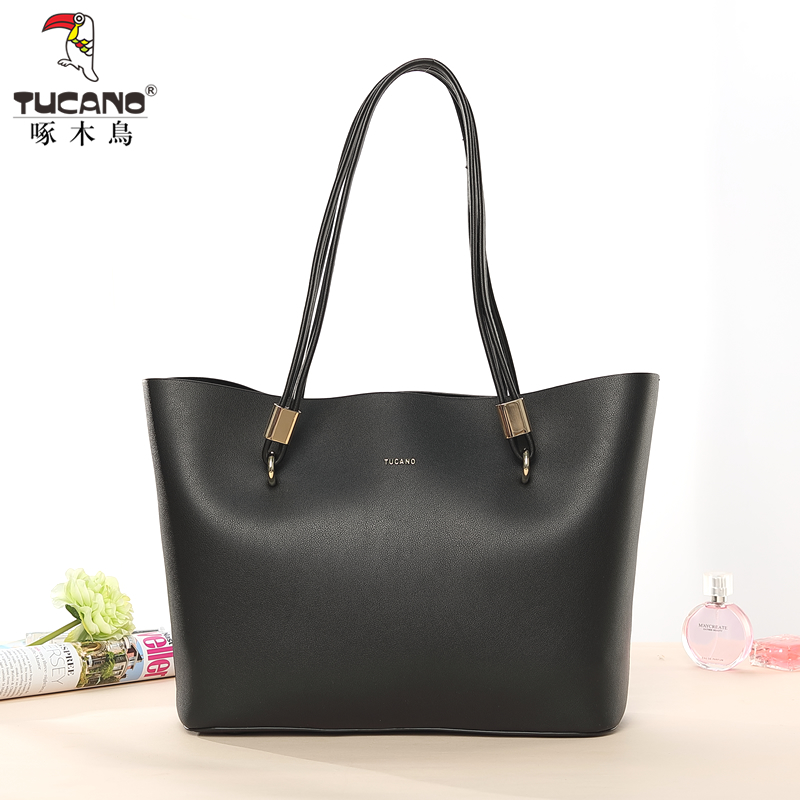 Woodpecker 2018 new women's bag fashion shoulder bag Korean version of the handbag lady big bag soft leather large capacity bag