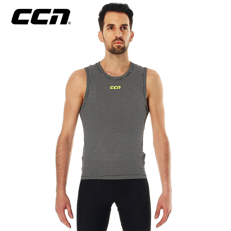 CCN Short-sleeved Sleeveless Cycling Clothes Air-permeable Dry Clothes Sports Vest Riding Bottom-plated T-shirts for Men and Women Summer