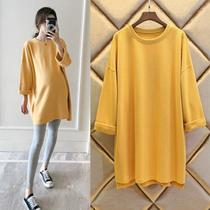 Maternity dress spring 2020 spring maternity sweater long section spring and autumn women long section Long Sleeve Blouse spring