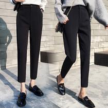 Костюм брюки женщины обрезанные брюки 2020 Новая весна и осень черные брюки свободные брюки Широкие брюки прямые сигареты брюки