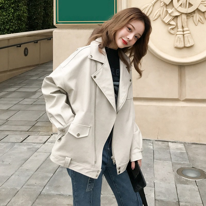 Salt fried street leather jacket female spring and autumn 2021 new Korean version of the loose short little motorcycle leather jacket