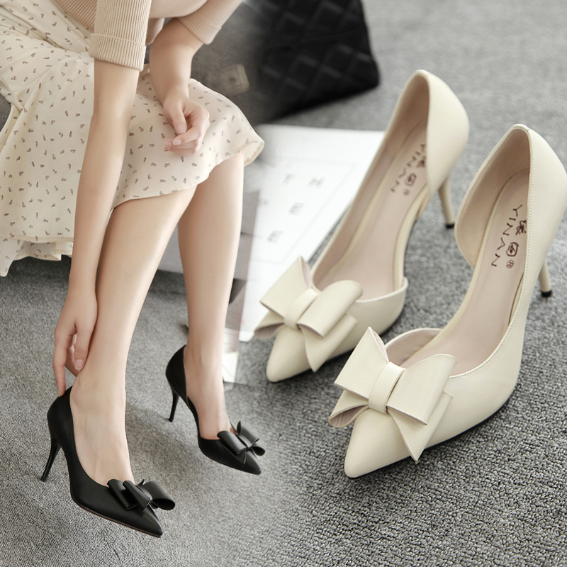 Summer 2019 New Korean Style Point High-heeled Shoes Big Butterfly Knot 33-yard Single-heeled Women's Shoes