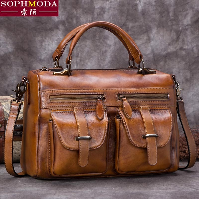 Retro bag female 2018 new leather bag female leather female bag Messenger bag female shoulder bag female handbag female cowhide