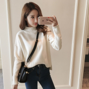 2017 new winter downneck female Korean students head long sleeved knit loose shirt all-match autumn