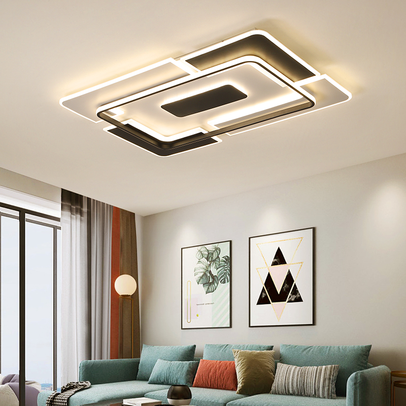 Living room light simple modern Rectangular LED lamps atmospheric household 2019 new net red bedroom light ceiling lamp