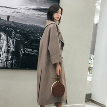 Autumn and Winter New Handmade Hepburn Double-sided Wool Overcoat Female Long Loose Cashmere Wool Overcoat Drop Sleeves 2019