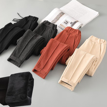 Girls winter pants plus velvet thick woolen pants harem pants children in the large children trousers trousers casual pants